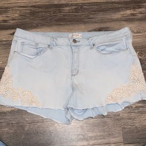 Jessica Simpson Cut off Denim Lace Shorts